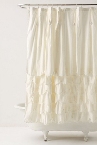Anthropologie bustled shower curtain ruffle cotton white
