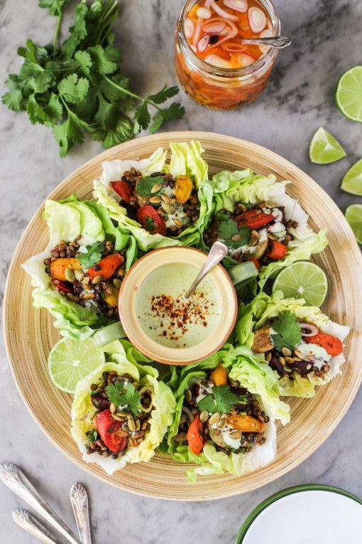 roasted vegetable and lentil tacos with avocado cream - vegetarian ...