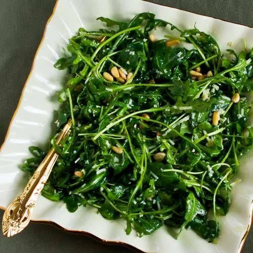 Baby Arugula Salad by kalynskitchen: With lemon, balsamic vinegar, parmesan and pine nuts.  #Salad #Arugula #kalynskitchen