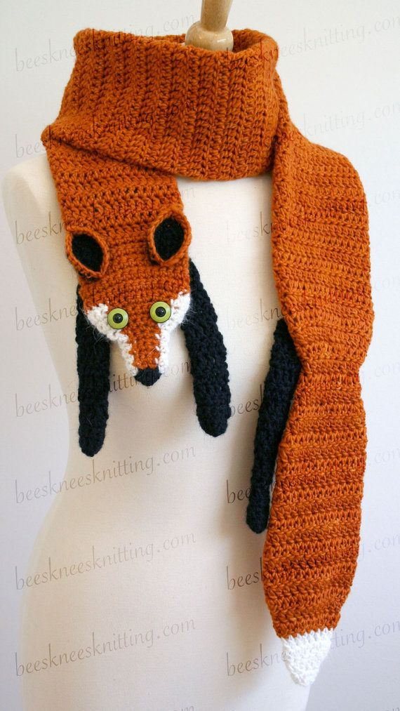 Free Crochet Patterns Fox Scarf : Digital PDF Crochet Pattern for Fox Scarf - DIY Fashion ...