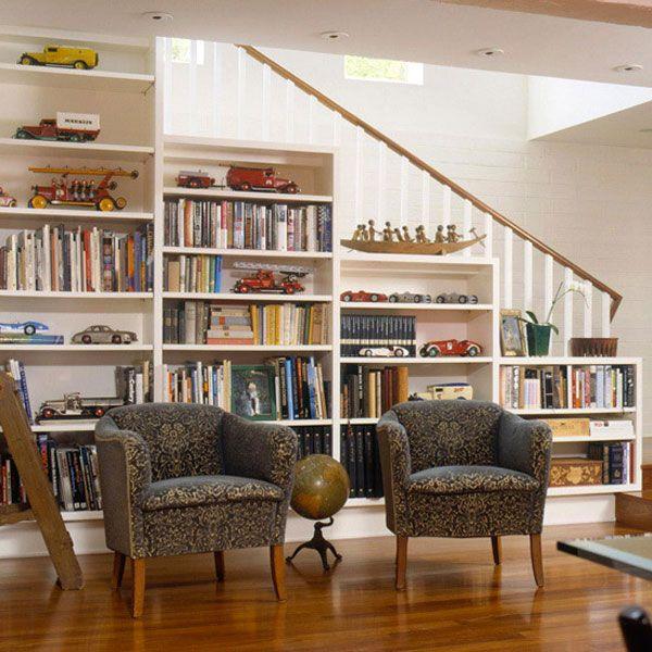 Bookcase Under Stairs Casa Pinterest