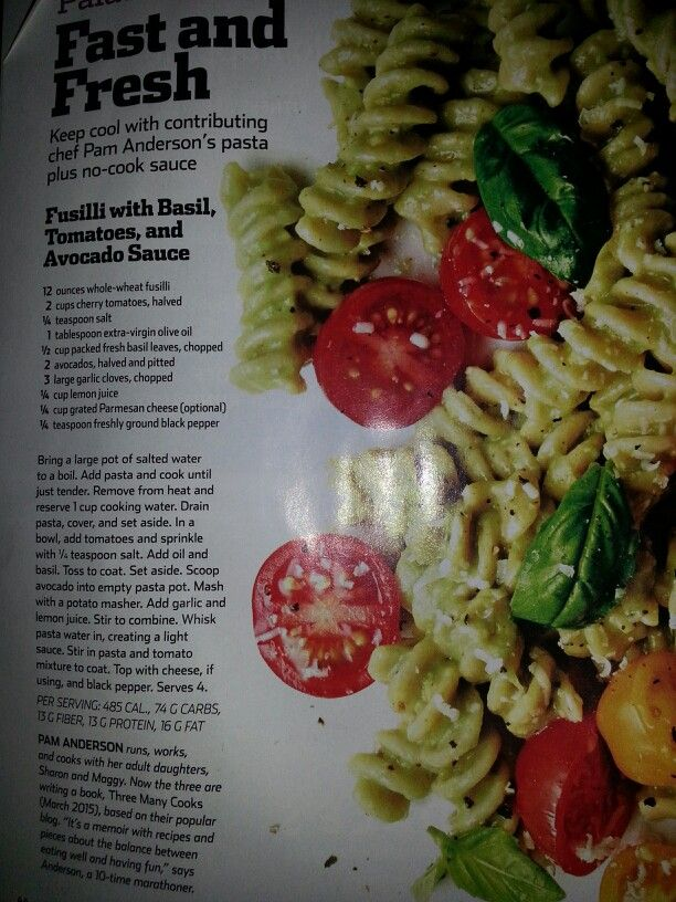 fusilli with basil, tomatoes, and avocado sauce- runners world