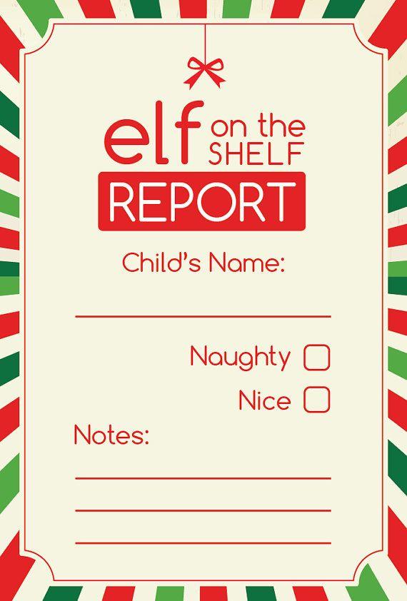 Elf on the Shelf Report Digital Printable by ScrapbookHub on Etsy, $2 ...