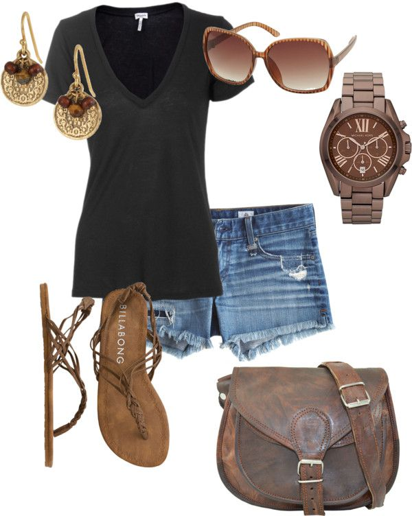 """Summer relaxing"" by mandys120 on Polyvore ... remember when black and brown was a sin to put together now its a big fashion yesss! :)"
