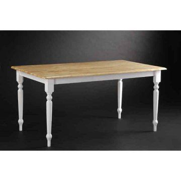 Farmhouse Dining Table White Natural Home Furniture Style Pinte
