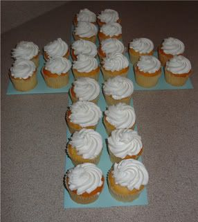 Cupcakes on cross shaped paper:  Communion and baptism decorations just don't get any easier