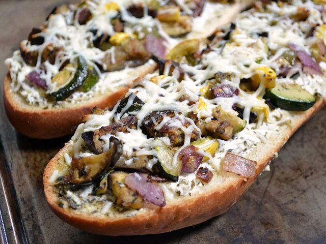 Roasted Vegetable French Bread Pizza with Pesto and Ricotta