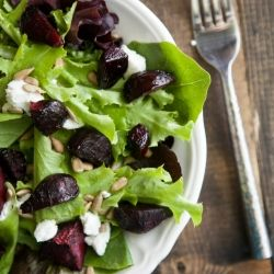 Maple Roasted Beet and Goat Cheese Salad | Salads | Pinterest