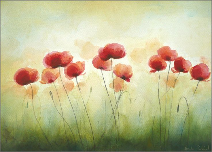 Magic Poppies Watercolor Painting Red Flowers Painting by ARTDORA   59    Poppies Watercolor Painting