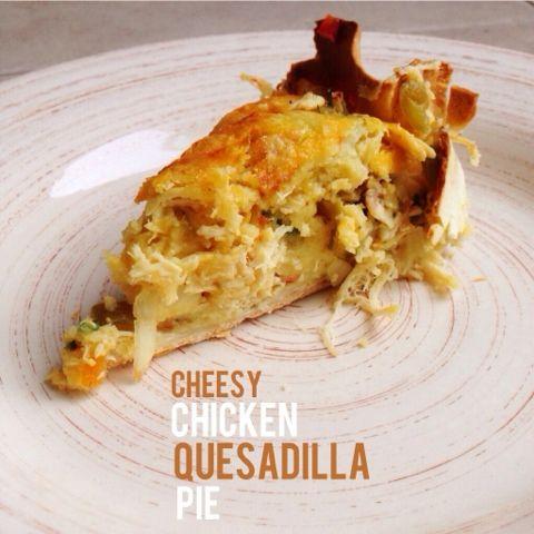 Cheesy chicken quesadilla pie on 2sweets.blogspot.com