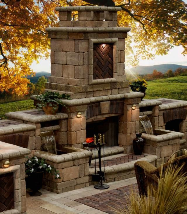 Outdoor fireplace with water feature porches outdoor for Fire and water features