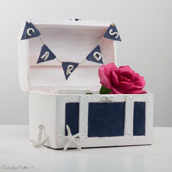 Wedding Shower Gift Card Holders : Unique Beach Wedding Gift Card box HolderNautical Keepsake boxN ...