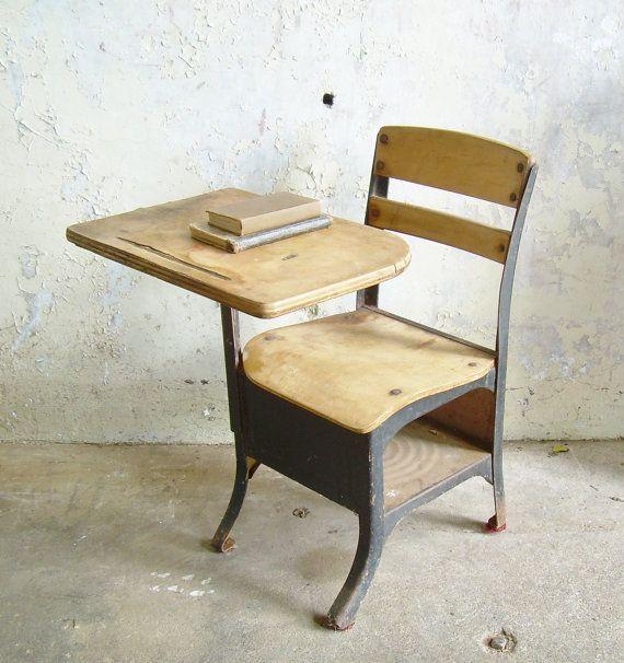 Rustic Vintage School Desk Chair Mid Century Black