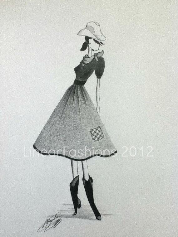 Fashion Sketch Illustration 1950s Cowgirl by LinearFashions, $32.00.