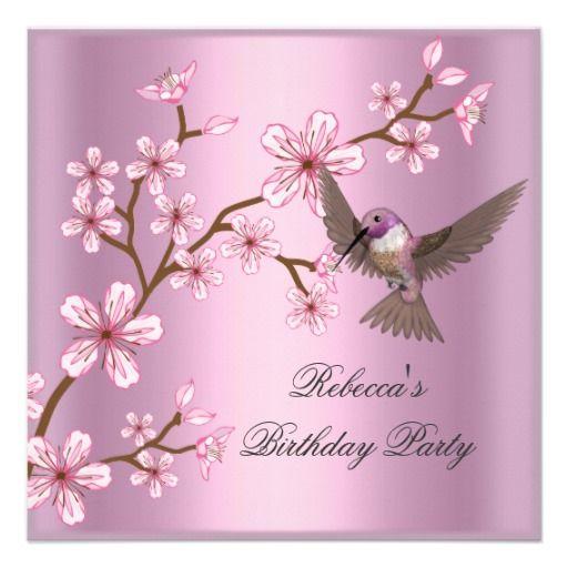 Birthday Asian Pink Blossom Flowers Bird Custom Invitation