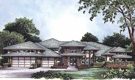 Exquisite frank lloyd wright style house plan for Frank lloyd wright prairie style house plans