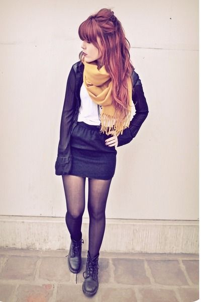 black tights, boots and mustard scarf