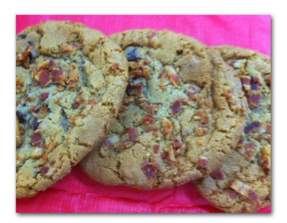 Mmm... Bacon chocolate chip cookies!  Come try some at Brothers Bakery.  You'll be amazed at how  good they are. We are selling them in the store and at a restaurant in Austin called BACON along with some bacon Cheddar Hawiaan buns!  519 Hwy 281   830.798.8278