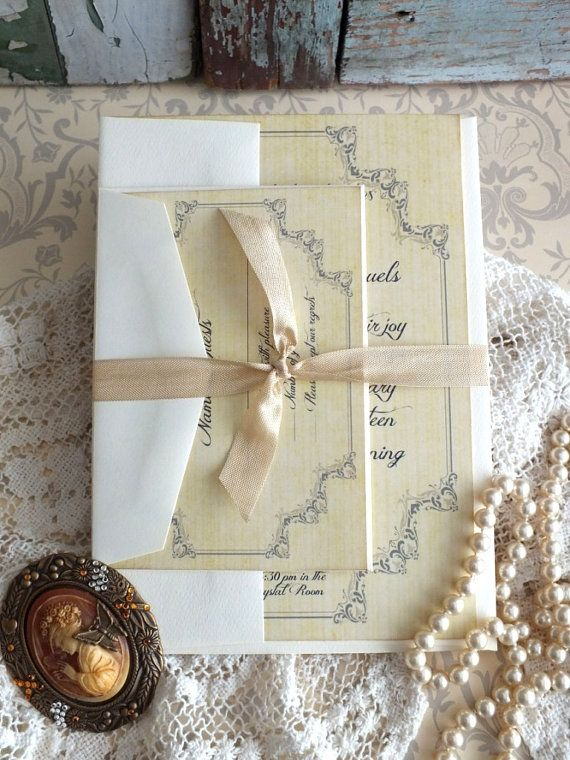 Vintage Romantic Wedding Invitation SAMPLE Handmade by ...