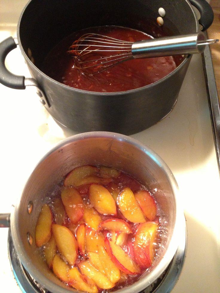 Peach Whiskey BBQ Chicken in the crockpot, homemade peach sauce ...