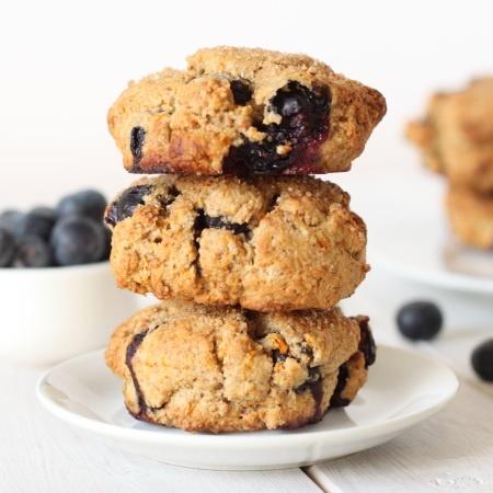 100% Whole Grain Orange Blueberry Scones (low fat & low sugar)