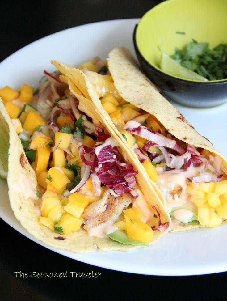 Mahi Mahi Fish Tacos with Avocado, Mango Salsa & Sambal-Lime Mayo