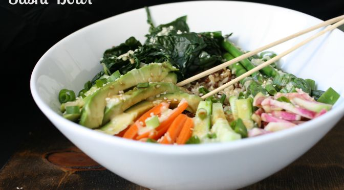 Veggie roll sushi bowl