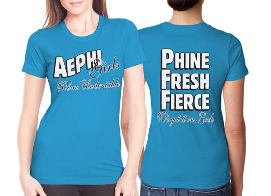 Alpha Epsilon Phi Undeniable Sorority Rush Shirt Idea  $11.90 each, 24 piece minimum