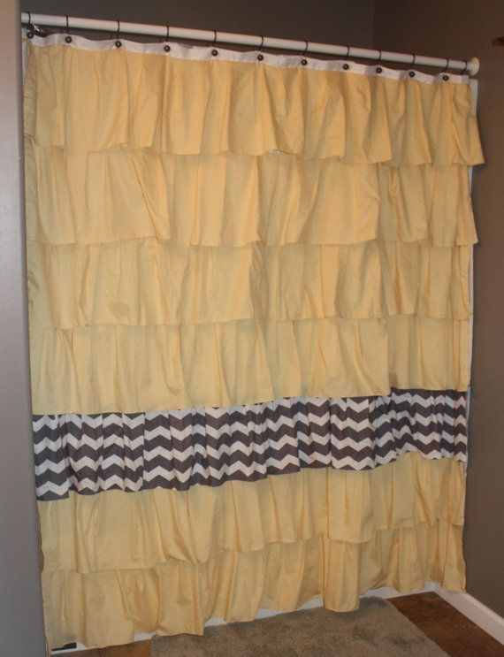 Light Yellow Ruffle Shower Curtain With Gray White Chevron