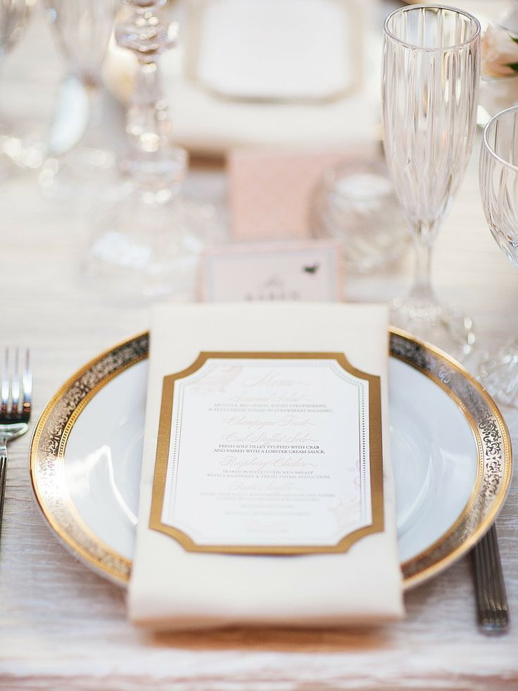 Gold Elegant Wedding Place Setting Ideas Papeterie