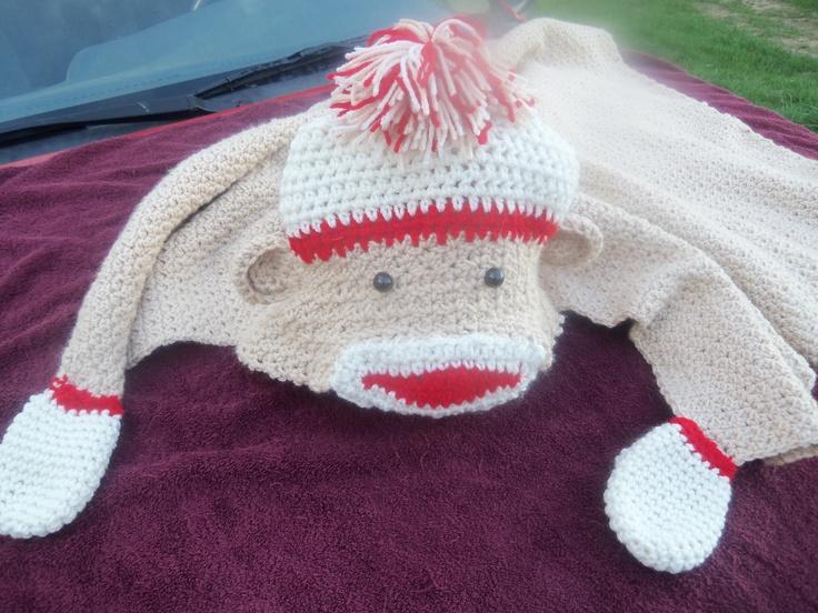 sock monkey blanket!!! CROCHET SOCK MONKEY ITEMS Pinterest