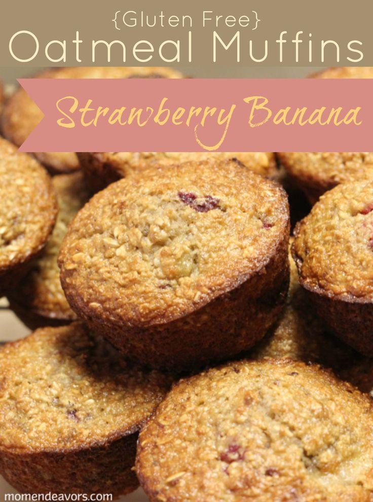 Strawberry-Banana Oatmeal Muffins #glutenfree #recipe