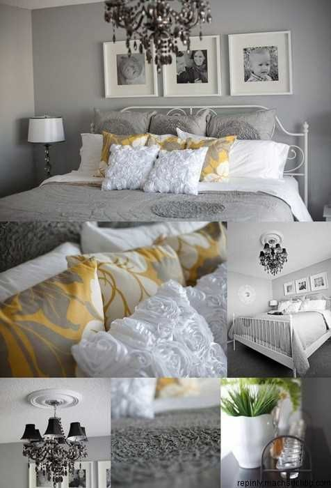 grey yellow and white bedroom decor decorating ideas pinterest