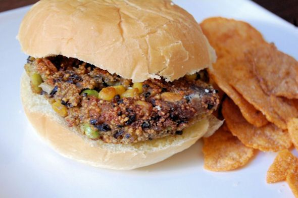 ... ; Southern Sisters, Food-Roasted Corn, Edamame and Black Bean Burger