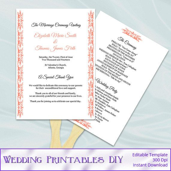 Coral wedding fan programs templates diy printable for Diy wedding program fans template