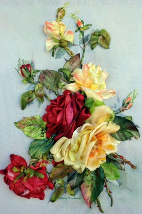 Принт для вышивки лентами розы 514