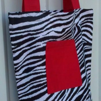 Zebra flat bottom tote at the Shopping Mall, $35.00 (USD)