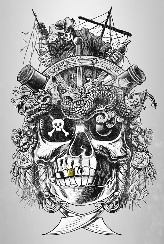 Skull Pirate Art Amazing Body Art Pinterest