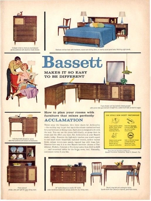 Vintage bassett furniture ad 1958 vintage furniture ads for P s furniture flyer