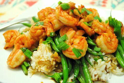 Sriracha shrimp and green bean stir-fry | YUMMO | Pinterest