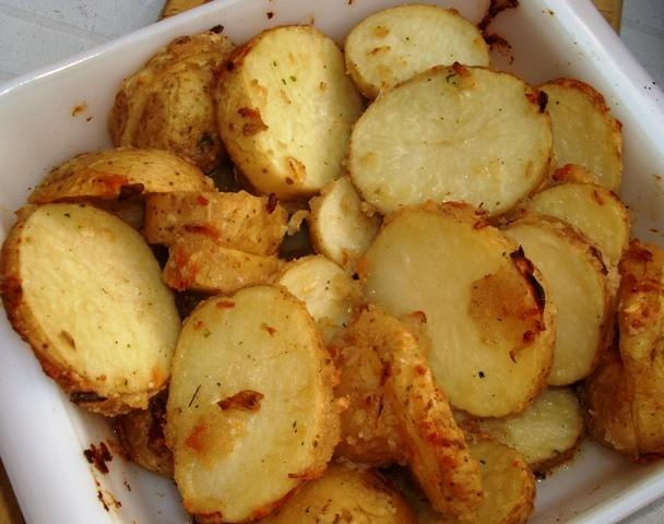 Onion Parmesan Roasted Red Potatoes. Sounds yummy.