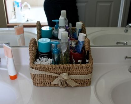 I love this idea. A basket on the counter for essentials.  Makes cleaning the counter a lot easier! -- Done!