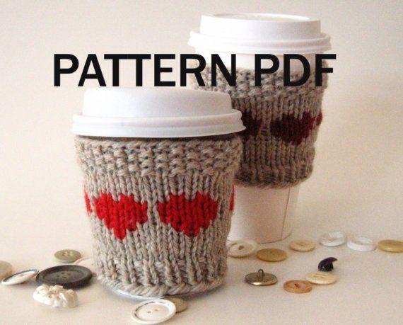 PDF PATTERN - Knit - Cup Cozy Lova Lotta Latte Hearts -Wool