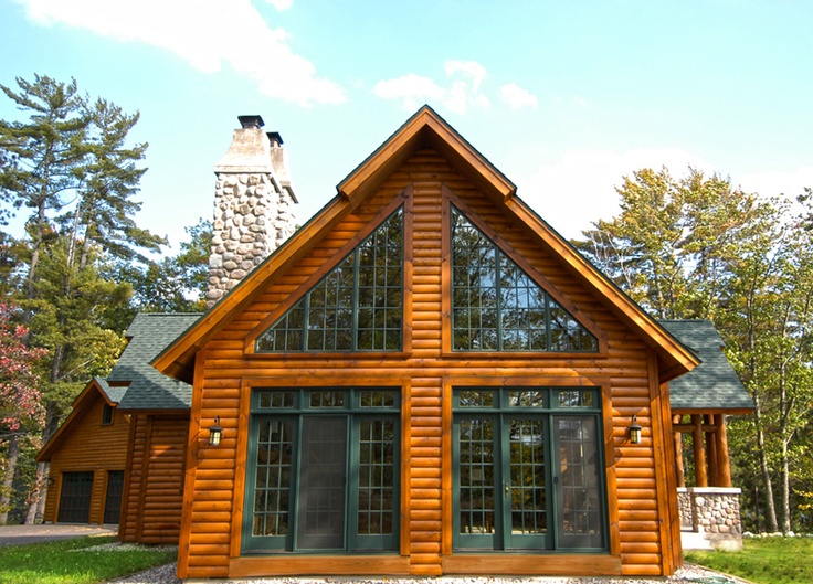 Chalet style hybrid log home hybrid log by dickinson for Chalet log homes