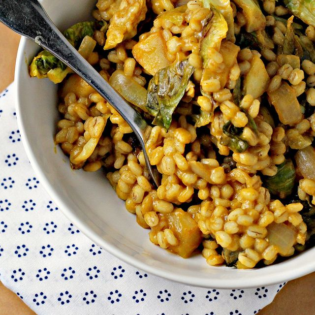Barley Risotto with Roasted Brussels Sprouts, Apples and Champagne Ho ...