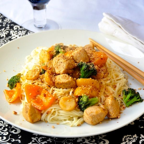 Honey Sriracha Chicken and Noodles in less than 20 minutes! Great for ...