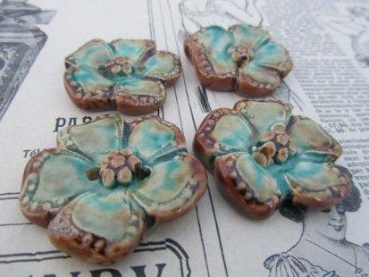 boutons fleurs céramique artisanale  J ADORE!  Pinterest