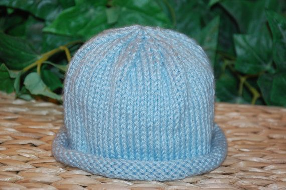 Knitting Pattern For Baby Hat With Brim : Knit Baby Hat, Rolled Brim Hat, Knit Hat, Newborn Hat ...