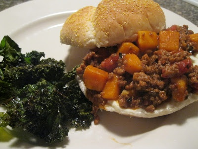 So easy and so good! Turkey Sloppy Joes with Kale Chips