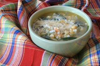 israeli couscous, lemon, and spinach soup ... from greensnchocolate